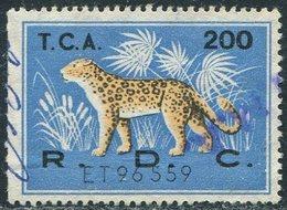 Congo - Kinshasa (Zaire) 1960's LEOPARD Revenue 200 Fiscal Tax Leopardo Gebührenmarke Stempelmarke - Felinos