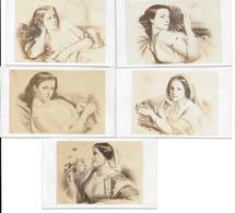 PORTRAITS DE FEMMES PAR CONSTANT BROCHART - PRINTEMPS AUTOMNE FEU TERRE EAU - CDV PHOTOS BULLA FRERES PARIS - LOT DE 5 - Anciennes (Av. 1900)