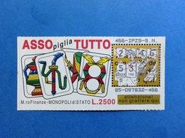 BIGLIETTO LOTTERIA GRATTA E VINCI USATO L. 2500 ASSO PIGLIA TUTTO - Biglietti Della Lotteria