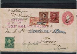 LCTN59/LE/PM - USA ENVELOPPE RECOMMANDEE NANTUCKET / TUNIS 13/7/1900 ROUTEE SUR LA GOULETTE VIGNETTE EXPOSITION - Postal Stationery