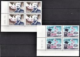 MONACO 1995 - 2 BLOCS DE 4 TP SERIE N° 1987 ET 1988 COINS DE FEUILLES / DATE / NEUFS** - Mónaco
