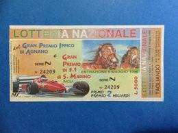 1996 BIGLIETTO LOTTERIA NAZIONALE GRAN PREMIO IPPICO AGNANO E F1 S. MARINO IMOLA - Biglietti Della Lotteria