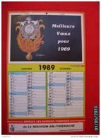 CAL1011  . CALENDRIER 1989    33 X 22  .SAPEURS POMPIERS  DE  LE NOUVION EN THIERACHE  ..lieutenant SEGOND   Raymond - Calendriers