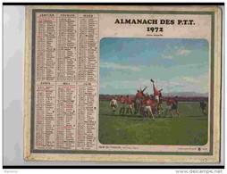 CAL632  .CALENDRIER  .ANNEE  1972..RUGBY   COURSE  HIPPIQUE   2 Volets  Voir  Photos Feuillets. .AISNE - Calendars