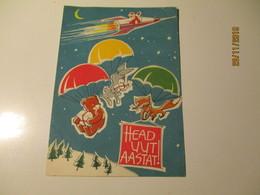 RARE! Estonia HAPPY NEW YEAR , SANTA CLAUS ON SPACE ROCKET , PARACHUTES FOX BEAR RABBIT , 1963 , ARTIST TALI ,0 - Anno Nuovo
