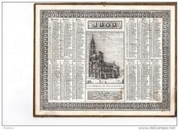 CAL145  CALENDRIER  1840  STRASBOURG  Par  J. JUNDT  Carton Glacé  RARE Parfait N°37 Pourtour Doré TAILLE DOUCE 20X24 - Formato Grande : ...-1900