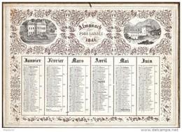 CAL147  CALENDRIER   1841  Par  J. JUNDT  RARE N° 44 Carton Glacé  Parfait ,Pourtour Doré . Taille Douce  30 X 27 - Calendari