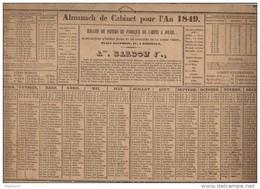 CAL161    CALENDRIER   ALMANACH    De   1849  Par  .BARDON   à  BORDEAUX   .7 Cm De Plus En Longueur  Trés Bon état - Calendari