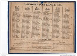 CAL163    CALENDRIER   ALMANACH  ZODIAQUE  De  1849  An Du Ier Timbre  FOLLIGNE  à RENNES  ETRENNES  DES  FACTEURS0 - Kalenders