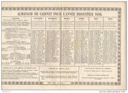 CAL181    CALENDRIER  ALMANACH  De  CABINET  ANNEE  BISSEXTILE  1856  TTB  MONTPELLIER  PASCOU  7 Rue Du Palais - Formato Grande : ...-1900