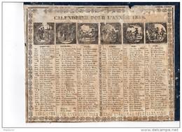 CAL185  .ALMANACH  CALENDRIER   1838    CHAILLOT  à  AVIGNON .Scénes De Vie Duel Chasse  Mariages ETAT - Calendriers