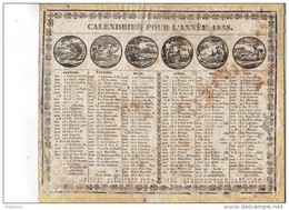 CAL185  .ALMANACH  CALENDRIER   1838    CHAILLOT  à  AVIGNON .LES MOIS  Femmes  . ETAT - Calendari