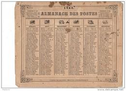 CAL203  .ALMANACH   Des  POSTES   1862    Zodiaques  Oberthur  Rennes Livret .pour L'hérault .non Cartonné   . - Formato Grande : ...-1900