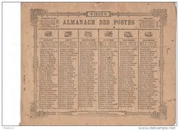 CAL207  .ALMANACH   Des  POSTES   1863   ..ZODIAQUE  OBERTHUR  Rennes  6 Pages Livret Pour L' HERAULT - Big : ...-1900