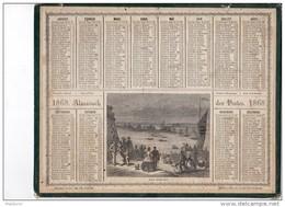 CAL219  .ALMANACH   Des  POSTES   1868 .signé .  OBERTHUR   REGATES   à  PARIS  .COURSE BATEAUX VOILE AVIRON - Calendari