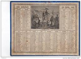 CAL220  .ALMANACH   Des  POSTES   1869 .signé Vaumort.  OBERTHUR   CHANTEURS   FORAINS. .FOIRE  ARTISTE - Calendari