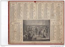 CAL222   .ALMANACH  Des  POSTES  1871 .signé Vaumort. UN BUREAU DE POSTE  OBERTHUR   .facteurs  Guichets - Calendari
