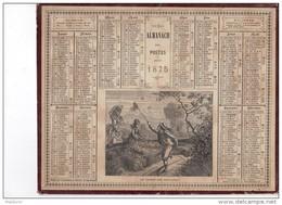 CAL226   .ALMANACH  Des  POSTES  1875 .signé .Ensfelden Lévy.  OBERTHUR  .la  CHASSE  AUX  PAPILLONS - Kalender