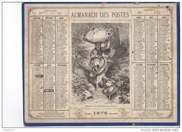 CAL227   RARE  .ALMANACH  Des  POSTES  1876 .signé .Ensfelden Lévy. RECOLTE Du  HOUBLON En ALSACE  OBERTHUR  .BIERE . - Calendari