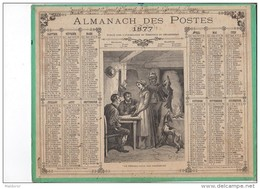 CAL228   .ALMANACH  Des  OSTES  1877 .signé .Ensfelden Lévy. .RENDEZ VOUS DES CHASSEURS   OBERTHUR  Chien .LIEVRE - Calendari