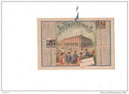 CAL229  .   1877 . AU  PRINTEMPS . TESTU  Et  MASSIN  RARE CALENDRIER  Jules JALUZOT  Paris   Format 18 Cm X 12 - Tamaño Grande : ...-1900