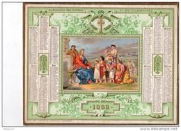 CAL236 .   1883 . ALMANACH  Des Postes ..  OBERTHUR  ENFANTS  Et CHRIST  Belles Dorures Teintes Religion - Calendari