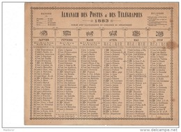 CAL232 .   1883 . ALMANACH  Des Postes .ZODIAQUES  OBERTHUR  8 Pages Non Cartonné  HERAULT - Formato Grande : ...-1900