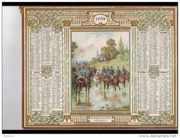 CAL240   ALMANACH Des POSTES  CHASSEURS  MILITAIRES  1904  OBERTHUR  ALLIER   DORURES En RELIEF  LUXE   CAVALERIE SOLDAT - Calendari