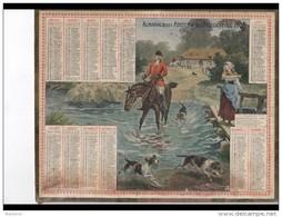 CAL241   ALMANACH  DES POSTES  1905  CHASSE à COURRE Signature JOB En Partie Grattée  Ferme  Femme Cheval  Chiens - Calendari