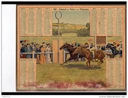CAL243   ALMANACH  DES POSTES  1907  .arrivée Course Hippique  Oberthur   BAS TACHé - Groot Formaat: 1901-20