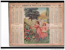 CAL244   ALMANACH  DES POSTES  1908  Bissextile .CHASSE  AUX  PAPILLONS - Groot Formaat: 1901-20