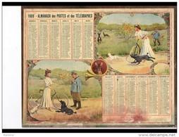 CAL246   ALMANACH  DES POSTES  1909 .VELO  FEMME  GARDE CHAMPETRE. - Calendari