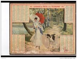 CAL248   ALMANACH  DES POSTES  1911 .. FEMME  CHIEN  ETANG - Calendari