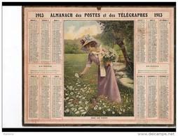 CAL249   ALMANACH  DES POSTES  1913 .. FEMME  .FLEURS Des Prés - Groot Formaat: 1901-20