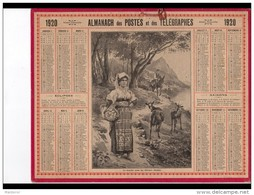 CAL255  ALMANACH  DES POSTES  1920  OLIVIERS  ITALIE  COUPLE  ANE  CHEVRES. - Groot Formaat: 1901-20