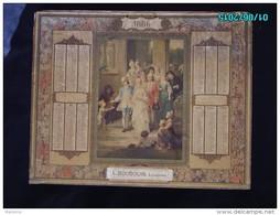 CAL281    CALENDRIER  1886 .L. BOUDOUIN  LITHOGRAPHE  63 X 50  MARIAGE SORTIE EGLISE AU XVIII E Siécle MOTIF ART NOUVEAU - Calendriers
