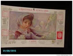 CAL284    CALENDRIER  1902 .Signé SIMONIDY  HIVER  FEMME AU  LILAS  EQUITABLE Des ETATS UNIS  Dijon Assurances 40 X 24. - Groot Formaat: 1901-20
