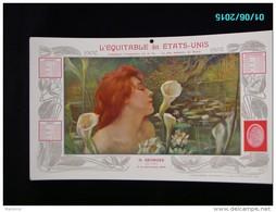 CAL285    CALENDRIER  1902 .Signé SIMONIDY  ETE  FEMME AUX ARUMS  EQUITABLE Des ETATS UNIS  Dijon Assurances 40 X 24. - Groot Formaat: 1901-20