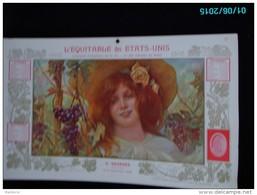 CAL287   CALENDRIER 1902 Signé SIMONIDY AUTOMNE FEMME AUX RAISINS  EQUITABLE Des ETATS UNIS  Dijon Assurances 40 X 24. - Groot Formaat: 1901-20
