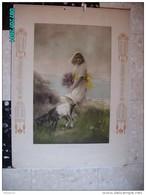 CAL293  MAGNIFIQUE  CALENDRIER  TAILLE DOUCE Signé .Ch.WALHAIN 1915.COTE EMERAUDE  FEMME.CHEVRE  72 X 52  ART NOUVEAU. - Calendari