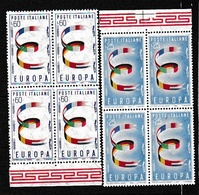 1957 Italia Italy Repubblica EUROPA CEPT EUROPE 4 Serie Di 2v. In Quartina MNH** Bl.4 SOGGETTI DIVERSI - Europa-CEPT