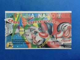 1993 BIGLIETTO LOTTERIA NAZIONALE CARNEVALE VIAREGGIO E PUTIGNANO - Biglietti Della Lotteria