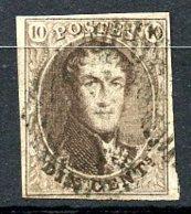 BE   10   Obl   ---   Brun  --  Papier Mince  --  4 Marges + Voisin  --  17 Barres - 1858-1862 Médaillons (9/12)