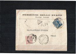 """LCTN59/LE/PM - TRIPOLI LETTRE """"FERROVIE DELLO STATO"""" POUR TUNIS 29/2/1912 TAXEE A L'ARRIVEE - Tripolitaine"""