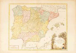 1750. CARTE DES ROYAUMES D'ESPAGNE ET DE PORTUGAL, Dans Les Quelles Sont Tracées Les Routes Des Postes. Gilles Robert De - Libros, Revistas, Cómics