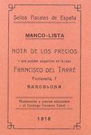 1918. SELLOS FISCALES DE ESPAÑA MANCO-LISTA. Catálogo Carreras Candí. Barcelona, 1918. (rarísimo Y Excelente Estado De C - Livres, BD, Revues