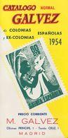 1954. CATALOGO GALVEZ DE COLONIAS Y EX-COLONIAS ESPAÑOLAS. Manuel Gálvez. Madrid, 1954. (rarísimo Y Excelente Estado De  - Livres, BD, Revues