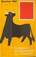 1960. Cartel Del 1º CONGRESO INTERNACIONAL DE FILATELIA (Santamaría, Toro). Barcelona 1960. MAGNIFICO Y RARISIMO. - Libros, Revistas, Cómics