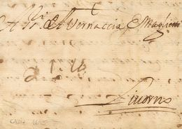 """Sobre . 1695. CADIZ A LIVORNO (ITALIA). Anotación Manuscrita De Porte """"21 La"""" (21 Liras), A La Llegada. MAGNIFICA. - Espagne"""