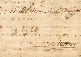 "Sobre . 1695. CADIZ A LIVORNO (ITALIA). Anotación Manuscrita De Porte ""21 La"" (21 Liras), A La Llegada. MAGNIFICA. - España"